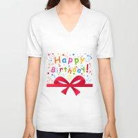birthday V-neck T-shirts featuring Birthday by aleksander1