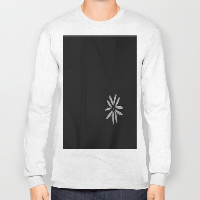 One Tiny White Flower on Black Background #decor #society6 Long Sleeve T-shirt