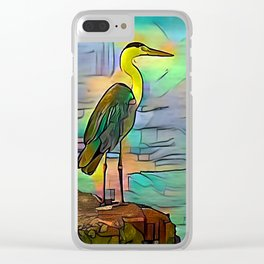 Grey heron on coast of ocean Clear iPhone Case