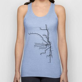Chicago CTA Map, Chicago Map Art, CTA Art, Chicago Wall Art, Chicago Art, L Train, Art Print Unisex Tank Top
