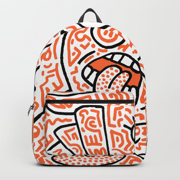 """The Face"" - inspired by Keith Haring v. orange Backpack"