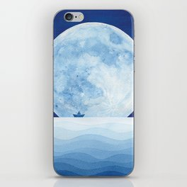 Full moon & paper boat iPhone Skin