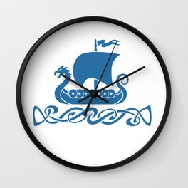Drgon Boat - Blue Wall Clock
