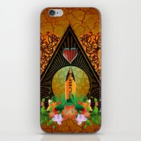 surfboard iPhone & iPod Skins featuring Surfboard with flowers  by nicky2342