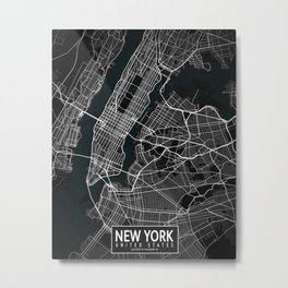 New York City Map of the United States - Dark Metal Print