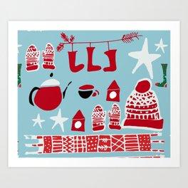 winter gear blue Art Print