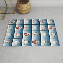 Cute Snowmen with Ornaments, Candy Cane and Strand of Lights Rug