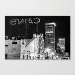 Cains Ballroom and the Tulsa Skyline - Black and White Canvas Print