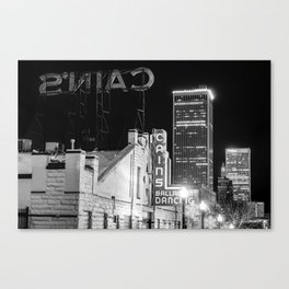 Cains Ballroom and the Tulsa Skyline - Black and White Canvas Print