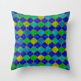 Ocean Breeze -Watercolor Moroccan Lattice Throw Pillow