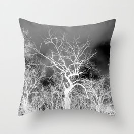 Naked trees forest, negative black and white photo Throw Pillow