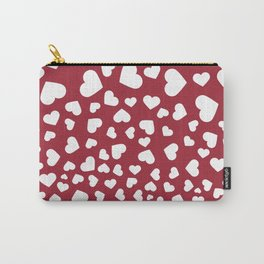 Modern red white romantic valentine's hearts pattern Carry-All Pouch