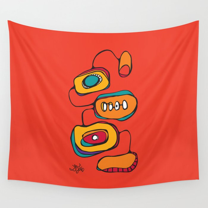 Scribbles 03 in Color Wall Tapestry