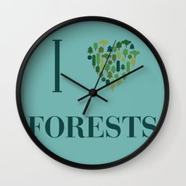 I heart Forests Wall Clock