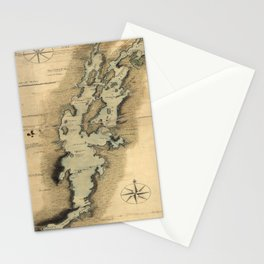Vintage Map of Lake Champlain (1865) Stationery Cards