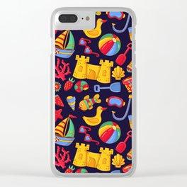 Summer beach pattern Clear iPhone Case