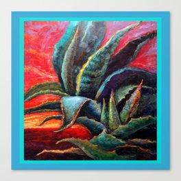 Southwest Desert Agave Cacti Sunrise Canvas Print