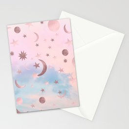 Pastel Starry Sky Moon Dream #2 #decor #art #society6 Stationery Cards