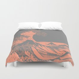 The Great Wave Peach & Gray Duvet Cover