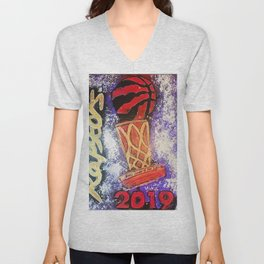 raptors 5,champion,basketball,gold,poster,wall art,2019,winners,NBA,finals,toronto,canada,painting Unisex V-Neck