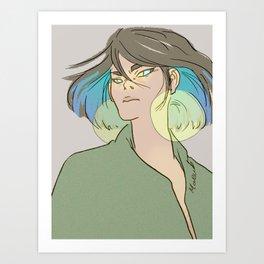 blue hair woman Art Print