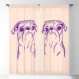 Pug (Peach and Purple) Blackout Curtain