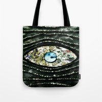 evil eye Tote Bags featuring Evil Eye by Lilly Guastella