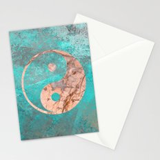 Yin Yang - Rose Turquoise Marble Stationery Cards