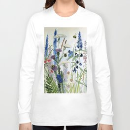 Wildflower in Garden Watercolor Flower Illustration Painting Long Sleeve T-shirt