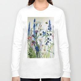 Wildflower in Garden Watercolor Flower Illustration Painting Langarmshirt