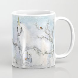 Winter Robins and Unicorns Coffee Mug