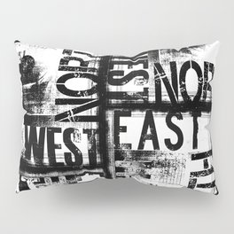 East South North West Black White Grunge Typography Pillow Sham