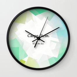 Latin quote: carpe diem, Seize the day. Wall Clock