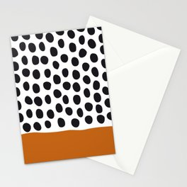 Classy Handpainted Polka Dots with Autumn Maple Stationery Cards