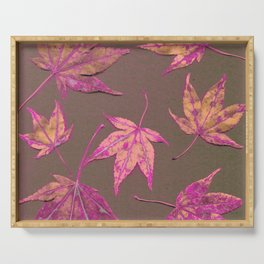 Japanese maple leaves - neon pink on khaki Serving Tray