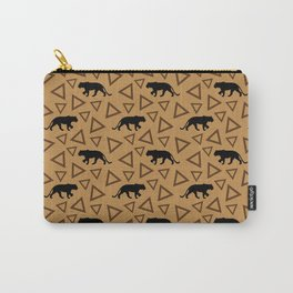 Wild African walking lioness silhouettes and abstract triangle shapes. Stylish classy warm brown latte color seamless retro vintage geometric animal nature pattern. Carry-All Pouch