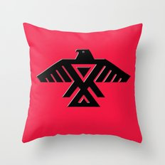 Thunderbird, Emblem of the Anishinaabe people - Black on Red version Throw Pillow
