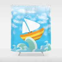 sail Shower Curtains featuring Sail by Lany Nguyen