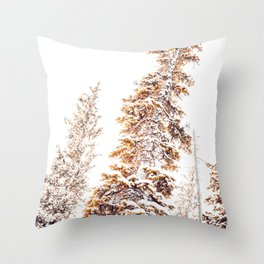 Golden Evergreen Trees in the Snow (Color) Throw Pillow