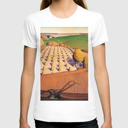Classical Masterpiece 'Fall Plowing' by Grant Wood T-shirt