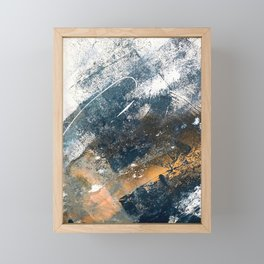 Wander [4]: a vibrant, colorful, abstract in blues, white, and gold Framed Mini Art Print