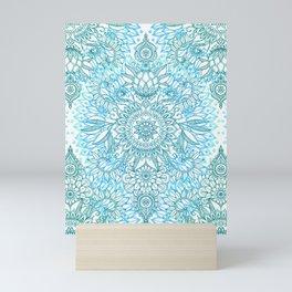 Turquoise Blue, Teal & White Protea Doodle Pattern Mini Art Print