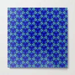Deep Blue Sea Bell Flower Geometric Blue Under the Sea 3D Design Spirit Organic Metal Print
