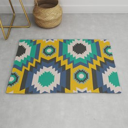 Ethnic in blue, green and yellow Rug
