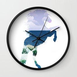 Summer horse. Double exposure Wall Clock