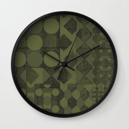 Circles, Squares and Diamonds—Green Wall Clock