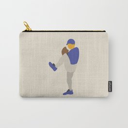 Baseball Player in Blue Pitching from Windup, Flat Graphic Carry-All Pouch