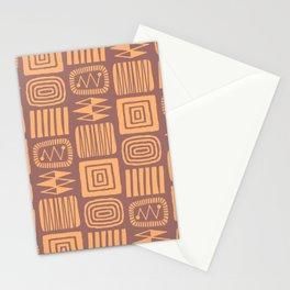 Retro Mid Century Modern Check Pattern 252 Brown and Orange Stationery Cards
