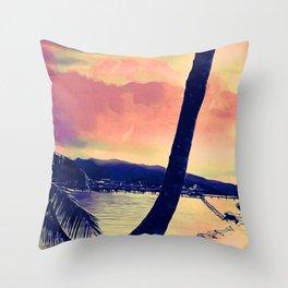 Tempest Island (Warmer Version) Throw Pillow