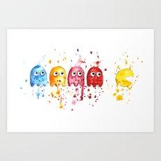 Watercolor PacMan Art Print